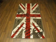 NOVELTY RANGE 80X150CM STAMPED UNION JACK RUGS/MATS TOP QUALITY GREY/RED/BLACK